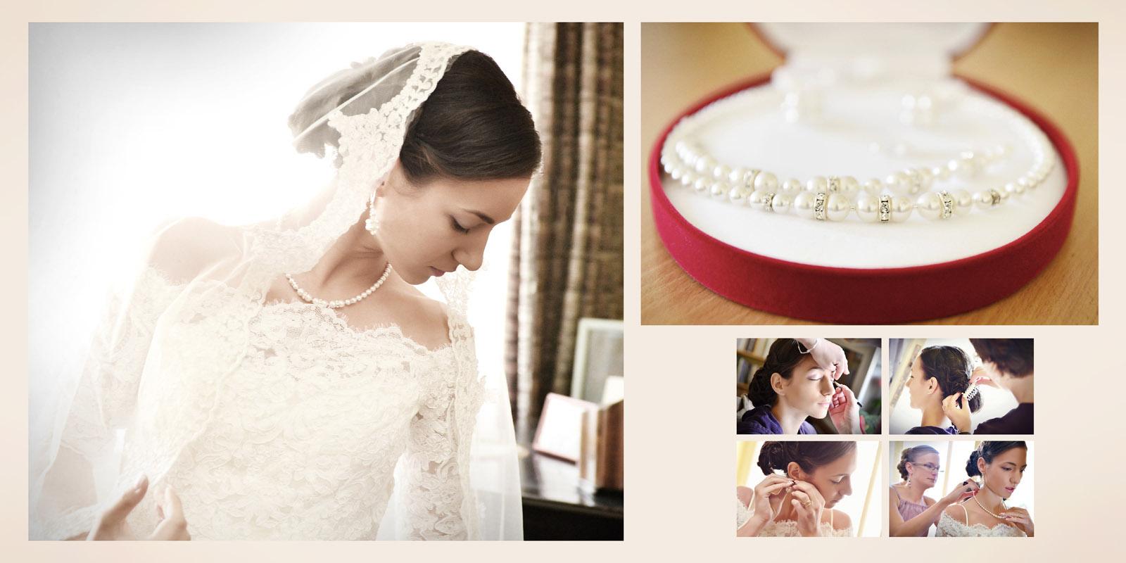 detalii cu pregatirea miresei pentru nunta, aranjate in pagina simplu si elegant