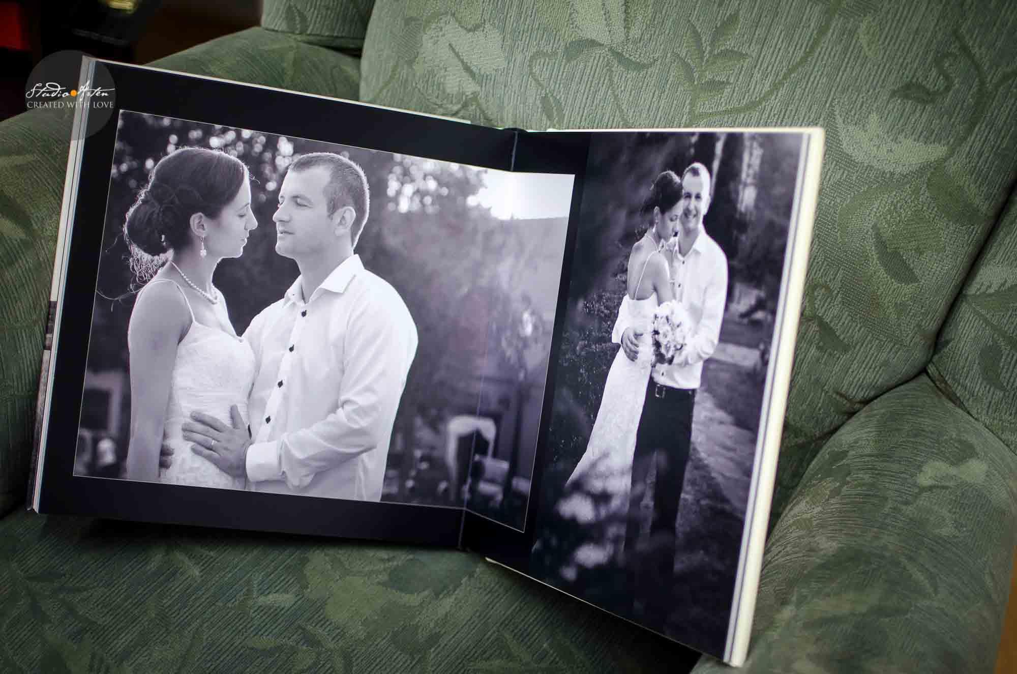 Album de nunta cu interior simplu elegant, fotomontaje cu aer artistic