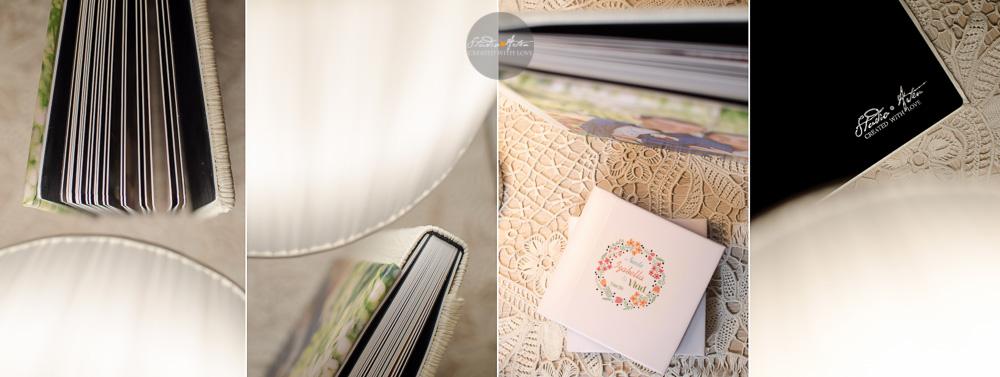 Album de nunta. Detalii album de nunta; coperta personalizata cu fotografia miriilor; pagini cartonate; face off catifea de culoare neagra; logo Studio Arten imprimat pe face off spate;