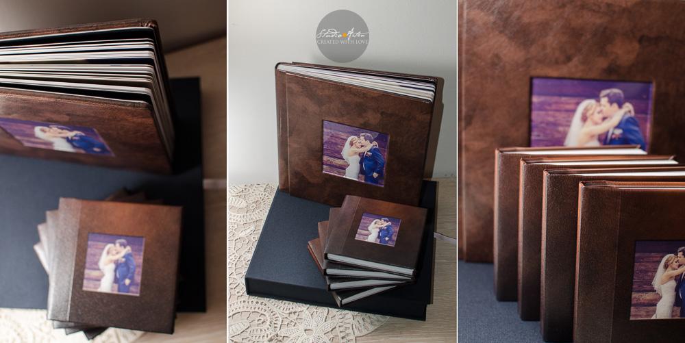 Album de nunta culoare marou. Coperta din piele personaizat cu fotografia miriilor. Fotografia este plasata sub plexiglas. Alumul vine intr-o cutie de protectie