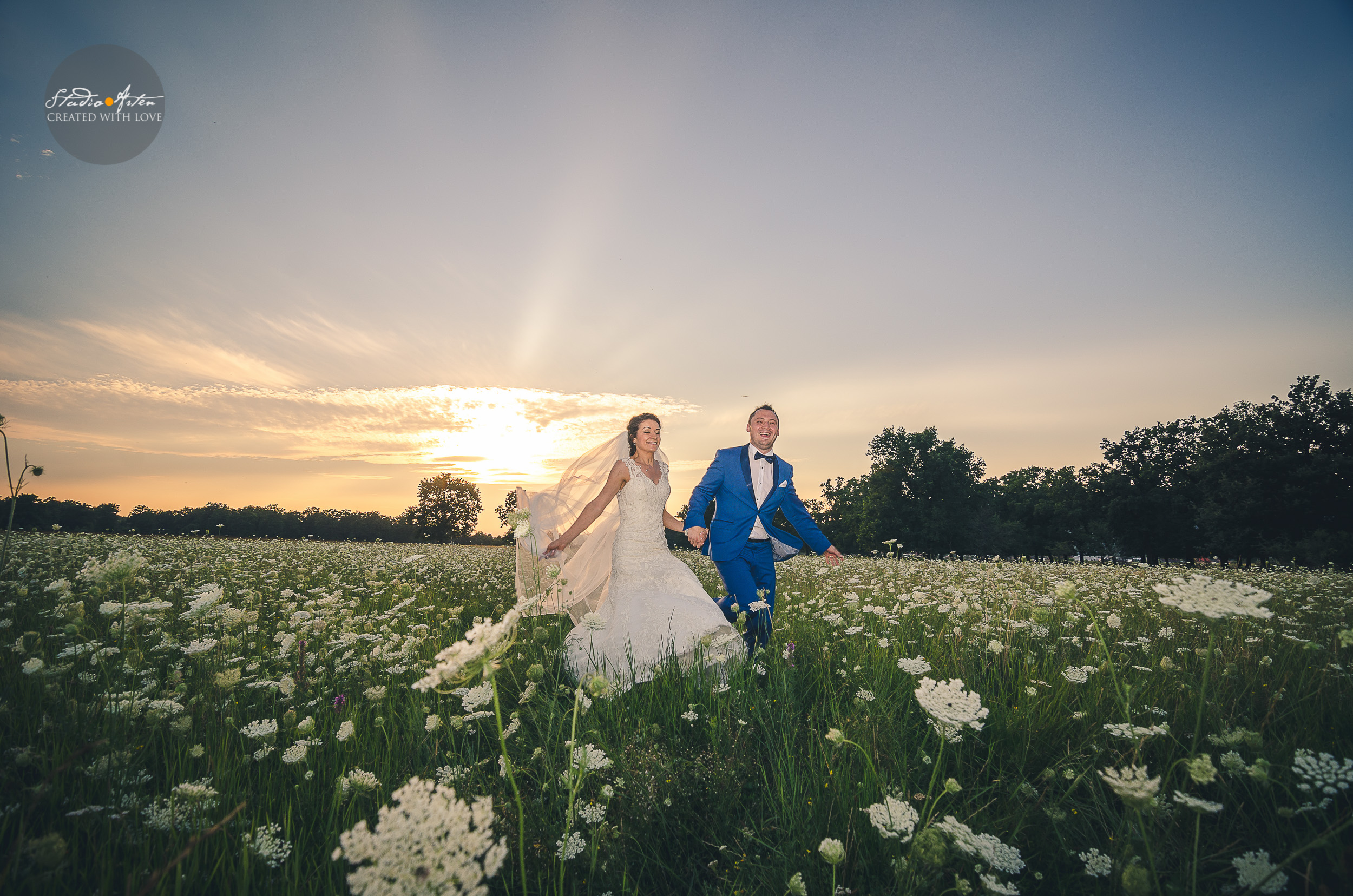 fotosedinta dupa nunta, camp cu flori, miri pe camp, fotograf profesionist, miri care alearga,